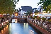 Mümling mit Brauhaus, Dämmerung, Erbach, Odenwald, Naturpark Bergstraße-Odenwald, Hessen, Deutschland | river Mümling and Brauhaus, Erbach, Odenwald, Hesse, Germany