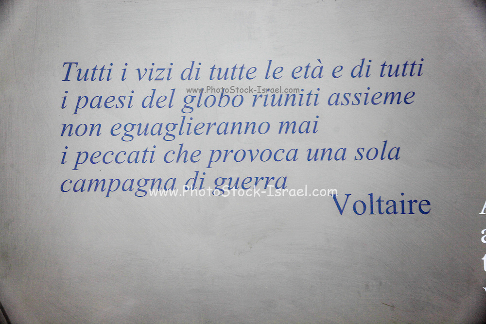 """A quote from """"War"""" by Voltaire, All the united vices of all ages and places will never equal the evils produced by a single campaign. in Italian, inside the Camposanto Monumentale cemetery. Pisa, Tuscany, Italy."""