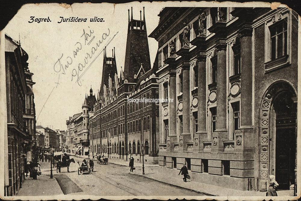 Zagreb : Jurišićeva ulica. <br /> <br /> Impresum[S. l.] : T. M. Z., [1917].<br /> Materijalni opis1 razglednica : tisak ; 9,5 x 14,5 cm.<br /> Vrstavizualna građa • razglednice<br /> ZbirkaGrafička zbirka NSK • Zbirka razglednica<br /> Formatimage/jpeg<br /> PredmetZagreb –– Jurišićeva ulica<br /> SignaturaRZG-JURIS-6<br /> Obuhvat(vremenski)20. stoljeće<br /> NapomenaRazglednica je putovala 1917. godine.<br /> PravaJavno dobro<br /> Identifikatori000954849<br /> NBN.HRNBN: urn:nbn:hr:238:932934 <br /> <br /> Izvor: Digitalne zbirke Nacionalne i sveučilišne knjižnice u Zagrebu