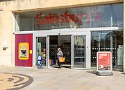 Sainsbury's supermarket shop store entrance, Calne, Wiltshire, England, UK