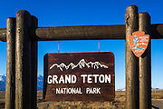 Entrance sign, Grand Teton National Park, Wyoming USA