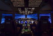 Cockpit of a Boeing 767-400ER flight simulator, built by CAE in Canada.