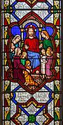 Stained glass window Jesus Christ suffer the little children church Saint Margaret, South Elmham, Suffolk, England, UK