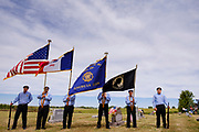 29 AUGUST 2020 - RUNNELLS, IOWA: The Honor Guard from American Legion Post 363 in Monroe, IA, at the funeral for Pvt. Roy Brown Jr. in Runnells, IA. Pvt. Brown was a US Army soldier in World War II. He was an infantryman in the 126th Infantry Regiment, 32nd Infantry Division, serving in the Australian Territory of Papua (now Papua New Guinea). He went missing in action on Dec. 2, 1942. Unidentified remains were recovered on Feb. 2, 1943 and were eventually interred in the Manila American Cemetery. On May 14, 2019, Defense POW/MIA Accounting Agency using dental records, circumstantial evidence and DNA identified the remains as Pvt. Brown's. He was reinterred in the Lowman Cemetery in Runnells Saturday.     PHOTO BY JACK KURTZ
