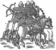 Mounted Muscovite warriors equipped with bows and arrow, swords and quilted armour. Woodcut 1556.