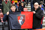 Bournemouth fans hold up a club flag before the Premier League match between Bournemouth and West Ham United at the Vitality Stadium, Bournemouth, England on 19 January 2019.