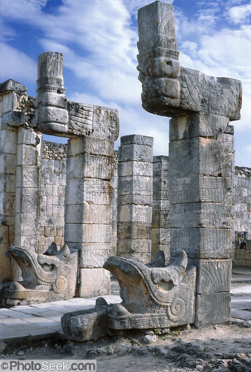 Maya rattlesnakes were hewn from limestone at Chichen Itza, MEXICO. Published in 2002-2003 by design agency CODA Creative Inc.
