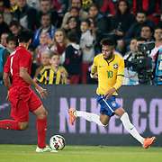 Brazil's Neymar JR (R) during their a international friendly soccer match Turkey betwen Brazil at Sukru Saracoglu Arena in istanbul November 12, 2014. Photo by Aykut AKICI/TURKPIX