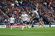 Rotherham United's Alex Revell heads towards goal. Skybet football league one play off semi final, 1st leg match, Preston North End v Rotherham United at the Deepdale Stadium in Preston, England on Saturday 10th May 2014.<br /> pic by Chris Stading, Andrew Orchard sports photography.