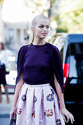 Street style, Daphne Groeneveld arriving at Rochas Spring Summer 2017 show held at Palais de Tokyo, in Paris, France, on September 28, 2016. Photo by Marie-Paola Bertrand-Hillion/ABACAPRESS.COM