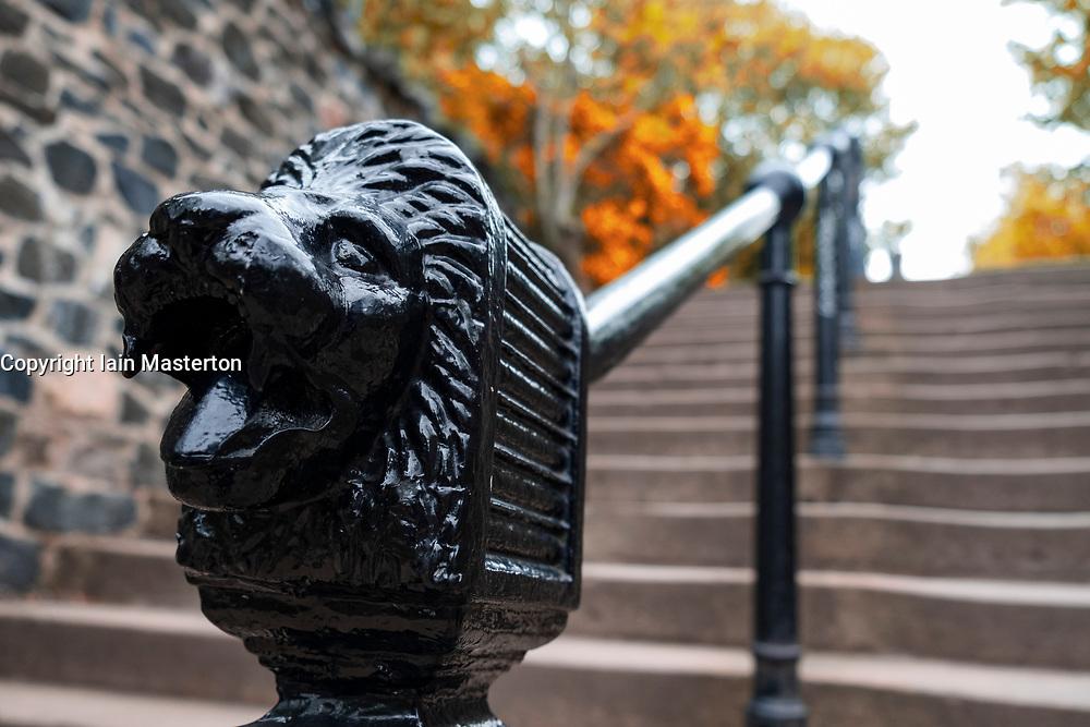 Detail ornate handrail of steps leading to Calton Hill in Edinburgh, Scotland, UK
