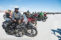John Landstrom with his 1928 BMW R62 after the Panorama portrait on the Bonneville Salt Flats during stage 12 (299 m) of the Motorcycle Cannonball Cross-Country Endurance Run, which on this day ran from Springville, UT to Elko, NV, USA. Wednesday, September 17, 2014.  Photography ©2014 Michael Lichter.