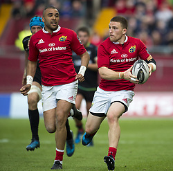 May 20, 2017 - Limerick, Irland - Andrew Conway with the ball and Simon Zebo both of Munster during the Guinness PRO12 Semi-Final match between Munster Rugby and Ospreys at Thomond Park Stadium in Limerick, Ireland on May 20, 2017  (Credit Image: © Andrew Surma/NurPhoto via ZUMA Press)