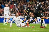 Real Madrid's Cristiano Ronaldo and Sevilla FC's Coke and Adil Rami during La Liga match. March 20,2016. (ALTERPHOTOS/Borja B.Hojas)