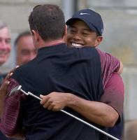 Golf, 2005 Open Championship, St. Andrews.<br /> Pic Noah Boardman/Digitalsport<br /> Sunday 17/07/2005<br /> A hug for manager Mark Steinberg from champion Tger Woods