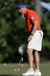 Dan Mullen warms up during the Chick-fil-A Peach Bowl Challenge at the Oconee Golf Course at Reynolds Plantation, Sunday, May 1, 2018, in Greensboro, Georgia. (Marvin Gentry via Abell Images for Chick-fil-A Peach Bowl Challenge)