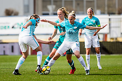 Kaja Erzen of Slovenia and Lea Schuller of Germany during football match between Slovenia and Germany in Womans Qualifications for World Championship 2019, on April 10, 2018 in Sports park Domzale, Domzale, Slovenia. Photo by Ziga Zupan / Sportida