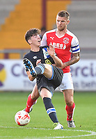 Fleetwood Town's Ashley Eastham battles with Blackburn Rovers' Joseph Rankin-Costello<br /> <br /> Photographer Dave Howarth/CameraSport<br /> <br /> The Checkatrade Trophy - Fleetwood Town v Blackburn Rovers U23 - Tuesday 30 August 2016 - Highbury Stadium - Fleetwood<br />  <br /> World Copyright © 2016 CameraSport. All rights reserved. 43 Linden Ave. Countesthorpe. Leicester. England. LE8 5PG - Tel: +44 (0) 116 277 4147 - admin@camerasport.com - www.camerasport.com
