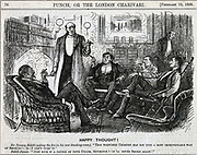 Gentlemen gathered in the smoking room smoking their after dinner cigars. George du Maurier cartoon from 'Punch', London 1886.