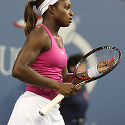 Sloane Stephens, USA, in a cation against Ana Ivanovic, Serbia, during the US Open Tennis Tournament, Flushing, New York. USA. 1st September 2012. Photo Tim Clayton