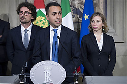 Italy, Rome - April 12, 2018.Consultations with the Italian President of the Republic to see if any party or coalition can muster enough support to form a government..Luigi Di Maio during a meeting with Italy's President Sergio Mattarella on April 12, 2018 at the Quirinale palace (Credit Image: © Us/Ropi via ZUMA Press)