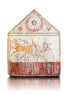 Lucanian fresco tomb painting of a man hunting deer with a wreath of pomegranates in the top panel. Paestrum, Andriuolo. Tomb n. 1 Plundered Furnishings.  (375-350 BC) .<br /> <br /> If you prefer to buy from our ALAMY PHOTO LIBRARY  Collection visit : https://www.alamy.com/portfolio/paul-williams-funkystock - Scroll down and type - Paestum Fresco - into LOWER search box. {TIP - Refine search by adding a background colour as well}.<br /> <br /> Visit our ANCIENT GREEKS PHOTO COLLECTIONS for more photos to download or buy as wall art prints https://funkystock.photoshelter.com/gallery-collection/Ancient-Greeks-Art-Artefacts-Antiquities-Historic-Sites/C00004CnMmq_Xllw