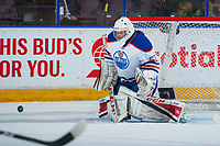 PENTICTON, CANADA - SEPTEMBER 9: Stuart Skinner #50 of Edmonton Oilers makes a save against the Winnipeg Jets on September 9, 2017 at the South Okanagan Event Centre in Penticton, British Columbia, Canada.  (Photo by Marissa Baecker/Shoot the Breeze)  *** Local Caption ***
