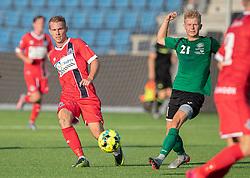 Anders Holst (FC Helsingør) og Mathias Kisum (Næstved Boldklub) under træningskampen mellem FC Helsingør og Næstved Boldklub den 19. august 2020 på Helsingør Stadion (Foto: Claus Birch).