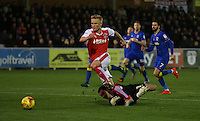 Fleetwood Town's Kyle Dempsey skips past the AFC Wimbledon goalkeeper James Shea but is unable to score<br /><br />Photographer Rob Newell/CameraSport<br /><br />The EFL Sky Bet League One - AFC Wimbledon v Fleetwood Town - Saturday 26th November 2016 - The Cherry Red Records Stadium - London<br /><br />World Copyright © 2016 CameraSport. All rights reserved. 43 Linden Ave. Countesthorpe. Leicester. England. LE8 5PG - Tel: +44 (0) 116 277 4147 - admin@camerasport.com - www.camerasport.com