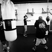 Abner working the speed bag at the no frills Maywood Boxing Club.