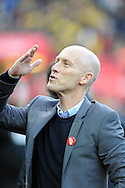 Swansea City manager Bob Bradley blows a kiss to someone in the crowd ahead of k/o. Premier league match, Swansea city v Watford at the Liberty Stadium in Swansea, South Wales on Saturday 22nd October 2016.<br /> pic by  Carl Robertson, Andrew Orchard sports photography.