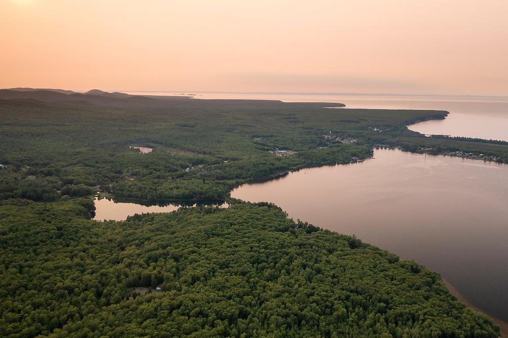 Aerial views of Big Bay, Michigan.