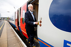 © Licensed to London News Pictures. 03/05/2017. London, UK. Leader of the Labour Party JEREMY CORBYN leaves Bedford station after campaigning in Bedford town centre, Bedfordshire, UK, ahead of a general election on June 8, 2017. Photo credit: Tolga Akmen/LNP