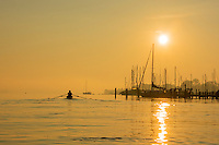 Rowing at Sunrise on the Magothy River near the Chesapeake Bay.
