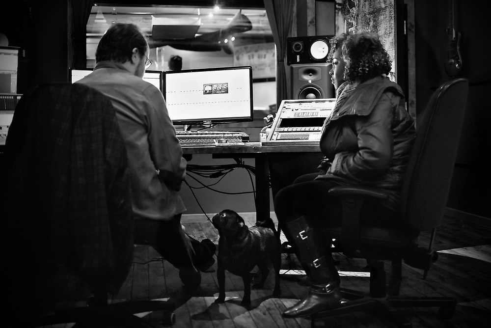 Nekita Waller works with engineer Phil Mann in the studio