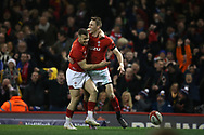 Liam Williams of Wales ® celebrates with Gareth Davies after he scores his teams 1st try. Wales v France, NatWest 6 nations 2018 championship match at the Principality Stadium in Cardiff , South Wales on Saturday 17th March 2018.<br /> pic by Andrew Orchard, Andrew Orchard sports photography