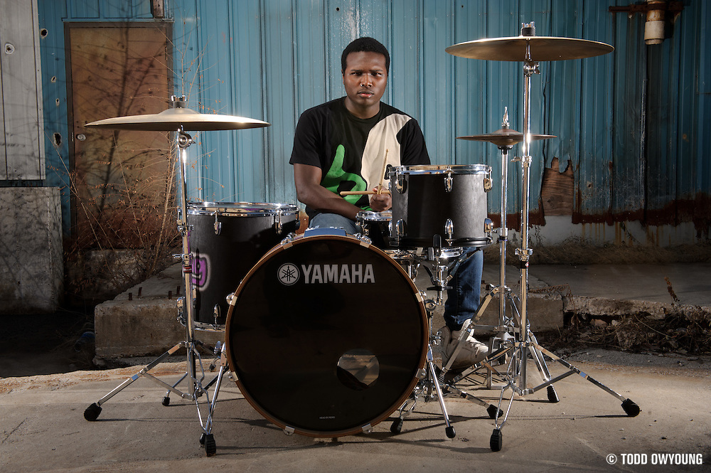 Drummer DJ Swanson photographed in St. Louis, Missouri on February 17, 2011 by music photographer Todd Owyoung