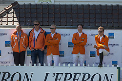 Team Netherlands <br /> Chef d'equipe Rob Ehrens, Mark Houtzagers, Willem Greve, Timothy Hendrix, Vincent Voorn<br /> Furusiyya FEI Nations Cup presented by Longines<br /> Longines Jumping International La Baule 2014<br /> © Hippo Foto - Dirk Caremans