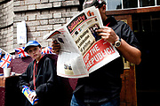 The Republican campain calling for the abolition of the Royal family held their own street party in Red Lion Square in Holborn, London. Republicans reading the paper.