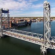 The Memorial Bridge with Portsmouth, NH in the background.