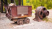 Ore cart and Interpretive plaque at the Rico silver mine, Rico, Colorado USA
