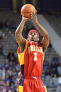 Iowa State guard Curtis Stinson fires a shot in the first half against Kansas State at Bramlage Coliseum in Manhattan, Kansas, February 8, 2006.  K-State defeated the Cyclones 66-63.