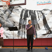 Navajo Nation Vice-President Myron Lizer and Second Lady Dottie Lizer speak at a presentation following the Rehoboth Lynx championship parade Friday morning in Rehoboth. Vice-President Lizer is a former school board president at Rehoboth Christian School.