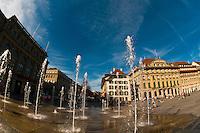 Water fountains in Bundesplatz (Confederation Plaza), Bern, Canton Bern, Switzerland