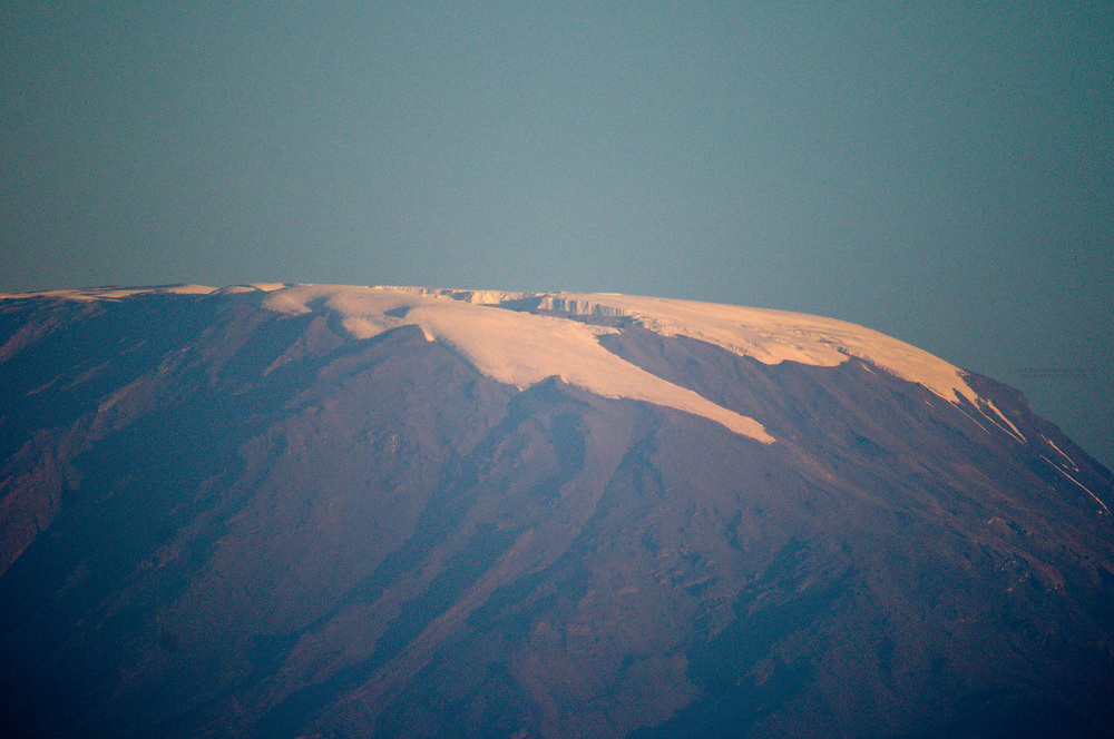 The snow on top of Mount Kilimanjaro seen from Amboseli National Park, Kenya