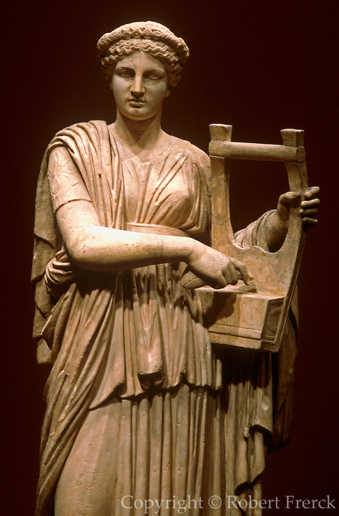 GREECE, HISTORIC ART AND ARTIFACTS sculpture of a Lyre Player playing a Kithara from the National Museum