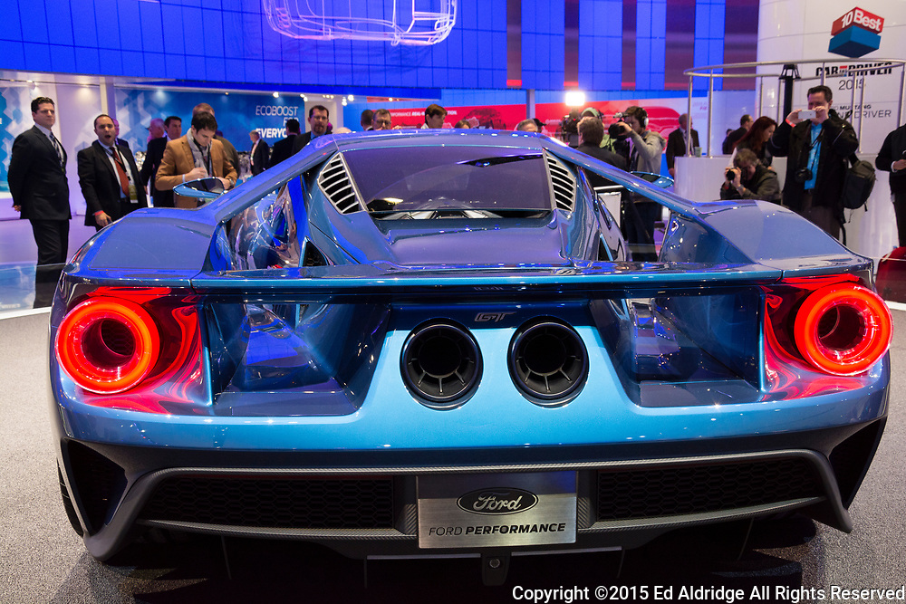 DETROIT, MI, USA - JANUARY 12, 2015: Ford GT on display during the 2015 Detroit International Auto Show at the COBO Center in downtown Detroit.