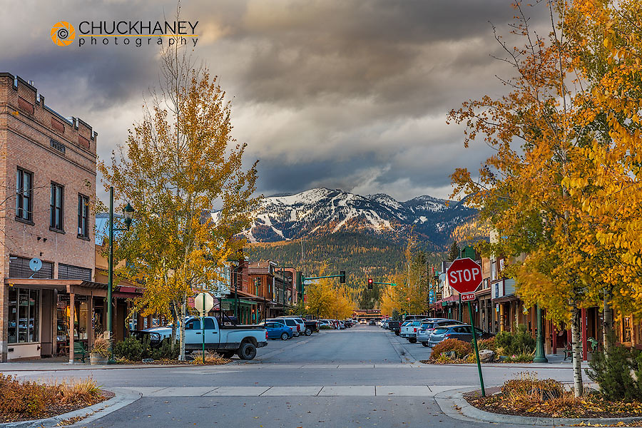 Central Aveunue in autumn in downtown Whitefish, Montana, USA