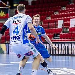 Adam Loenn (TVB Stuttgart #11) ; Tim Kneule (FRISCH AUF! Goeppingen #4) ; LIQUI MOLY HBL 20/21  1. Handball-Bundesliga: TVB Stuttgart - FRISCH AUF! Goeppingen am 24.04.2021 in Stuttgart (SCHARRena), Baden-Wuerttemberg, Deutschland beim Spiel in der Handball Bundesliga, TVB 1898 Stuttgart - FRISCH AUF! Goeppingen.<br /> <br /> Foto © PIX-Sportfotos *** Foto ist honorarpflichtig! *** Auf Anfrage in hoeherer Qualitaet/Aufloesung. Belegexemplar erbeten. Veroeffentlichung ausschliesslich fuer journalistisch-publizistische Zwecke. For editorial use only.