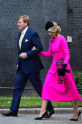 © Licensed to London News Pictures. 24/10/2018. LONDON, UK. King Willem-Alexander and Queen Maxima of the Netherlands arrive at Number 10 Downing Street for talks with Theresa May, Prime Minister.  The King and Queen are in the UK on a state visit aimed at strengthening the bonds between the two nations.  Photo credit: Stephen Chung/LNP